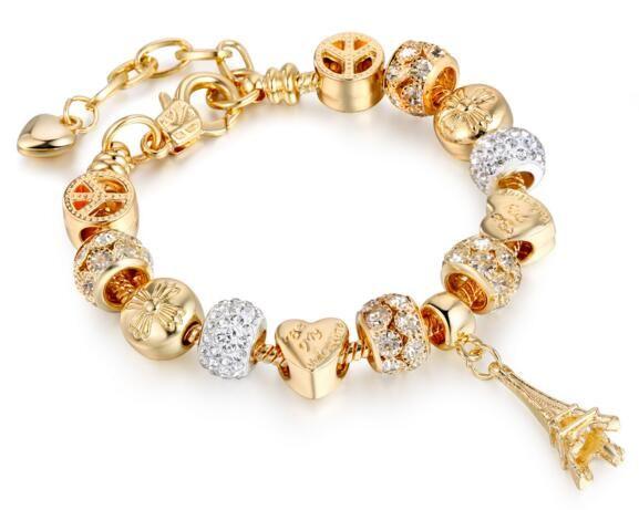 невесты браслеты прелести ювелирные изделия, романтичные ювелирные изделия стерлингового серебра браслеты, свадебные руки прядей типа башни браслет амулеты