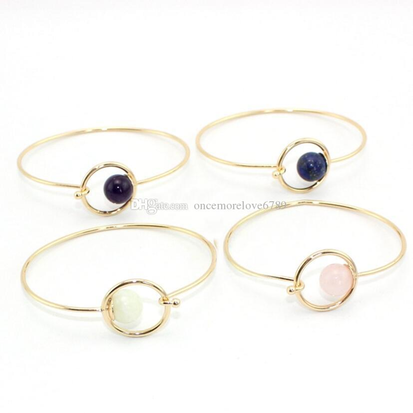 4 Colors Fashion Round Natural Stone Beads Open Cuff Geometric Punk Bracelet Bangle for Women Party Gift Jewelry