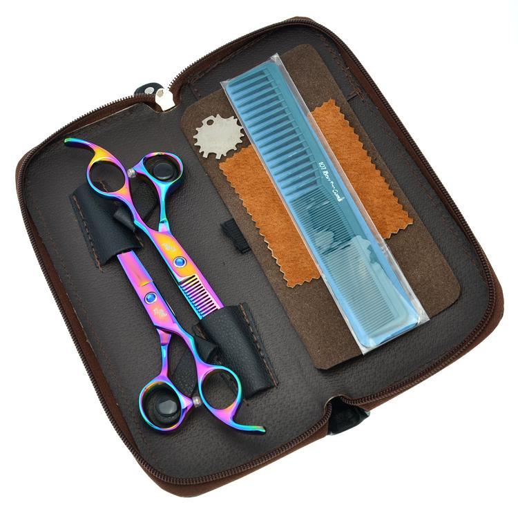 DAOMO 5.5 inç 6.0 inç Gökkuşağı İnsan Saç Tesoura Salon Kuaförlük Makas Seti Berberler Saç Kesme İnceltme Tijeras Saç Makası LZS0624