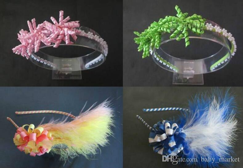 "hand customize hair accessories Headband Hair Accessories 3x1.75"" Corker/2"" Loopy Puffs Feather Bow.8pcs\"