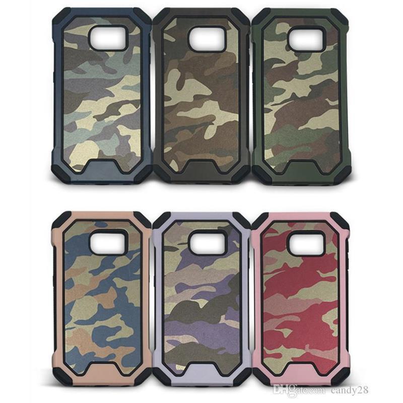 Art- und Weisecamo dünner Camouflagefall PC + TPU Rüstung stoßsicherer lederner Fall Abdeckung für iphone7 7 plus 6 6S plus 5S Samsung S7 Rand S6 + Kleinkasten