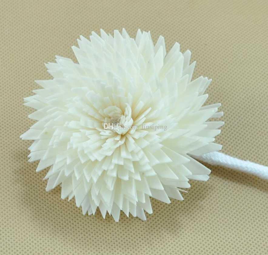 Natural artesanal borda afiada crisântemo / sola decorativa flor para difusor de aroma / cor bege difusor de flores e flores secas