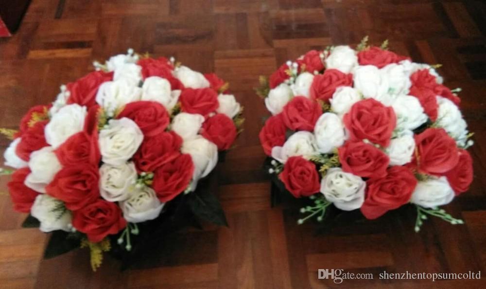 Roma ayağı çiçek Düğün dolgunluğu gül yol led çiçekler düğün dekorasyon centerpieces yapay çiçekler