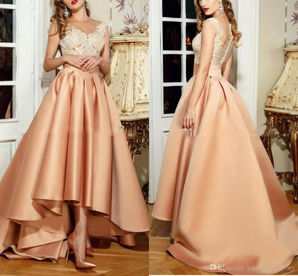Hi Lo Champagne Dress Evening Wear 2017 Sheer Neck Lace Top Prom Dresses Illusion Back Floor Length Formal Evening Gowns Made In China