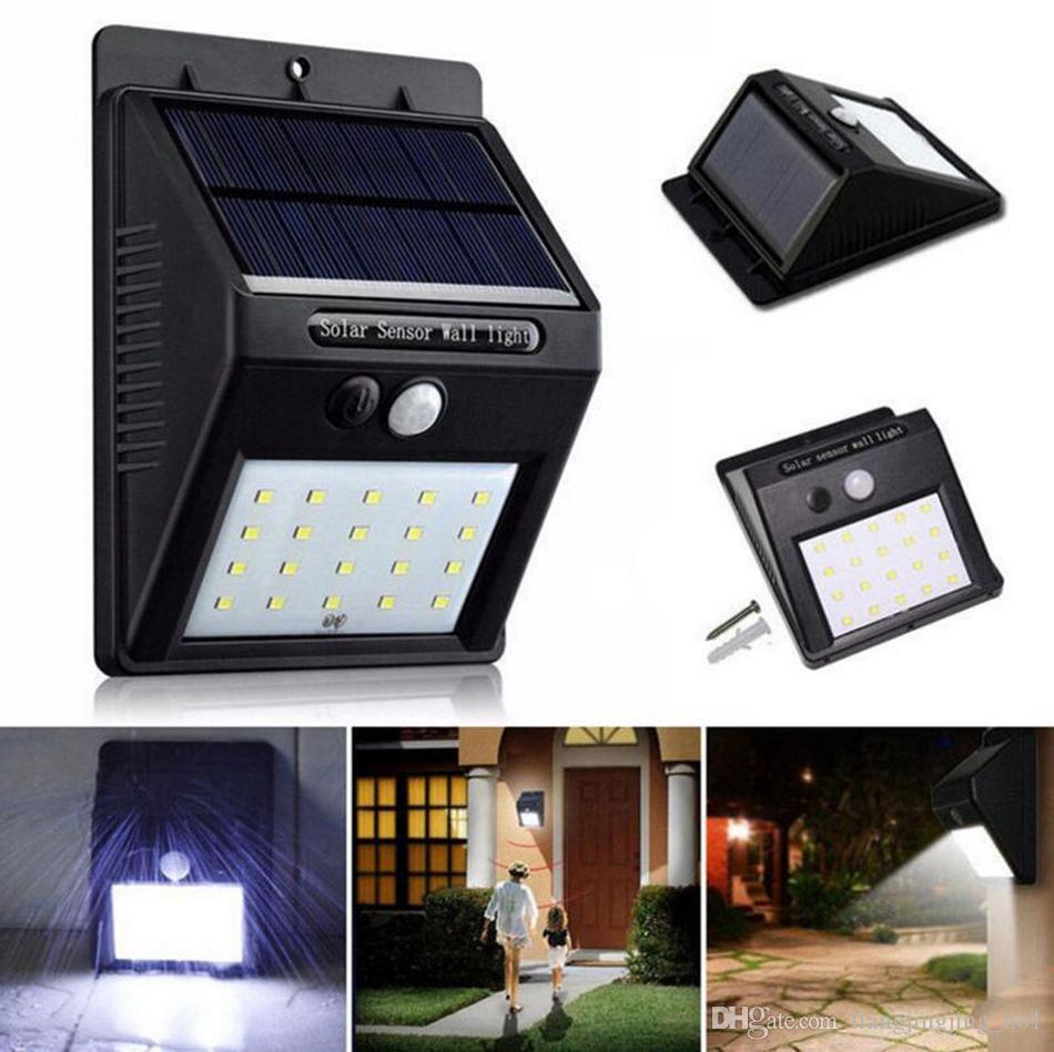 (20) LED 태양 광 발전 스포트 라이트 모션 센서 야외 정원 벽 등 보안 램프 거터 OOA3130