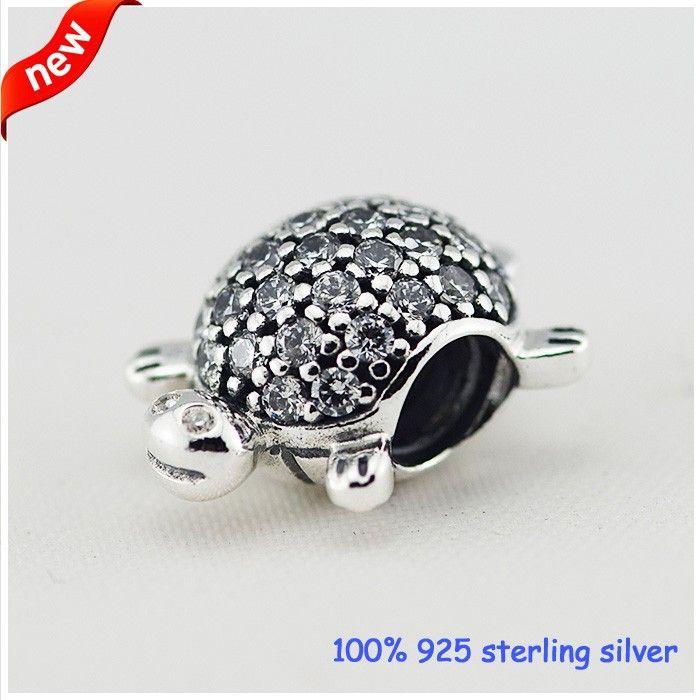Adatto per Pandora Bracciali Turtle Silver Beads con CZ Nuovo originale 100% 925 Sterling Silver Charms fai da te all'ingrosso