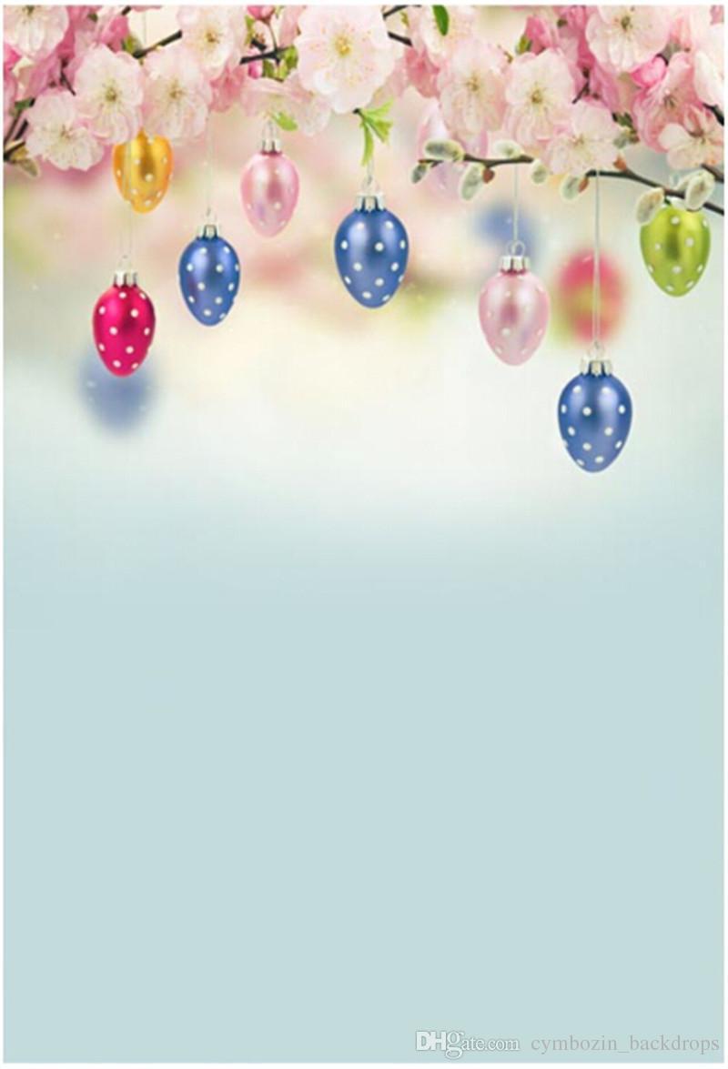 Bonne fête de Pâques Jour Photographie Toiles Vinyle Coloré Oeufs Printemps Rose Fleur Fleurs Enfants Enfants Photo Studio Fond