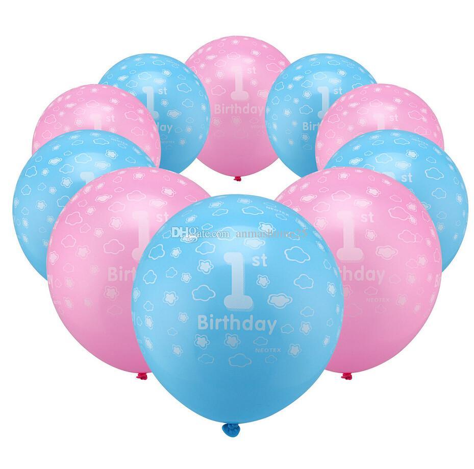 10 PCS un set! Decorazioni di palloncini in lattice perlato stampato di 1 anno da 12 pollici Blue Pink Boy's Girl
