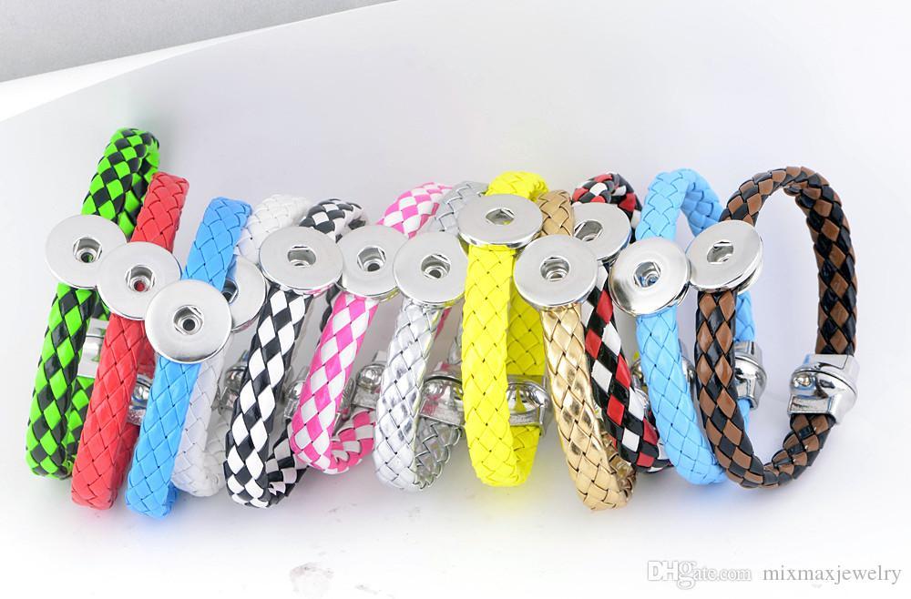 nuovi 12PCS assortiti mix pu cuoio delle donne Ginger 18mm bottoni a pressione pezzi charms bracciali gioielli fai da te