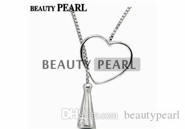 5 Pieces Sterling 925 Silver Box Chain Heart Pendant Mounting Necklace Jewellery Necklace Blank Settings for Pearls