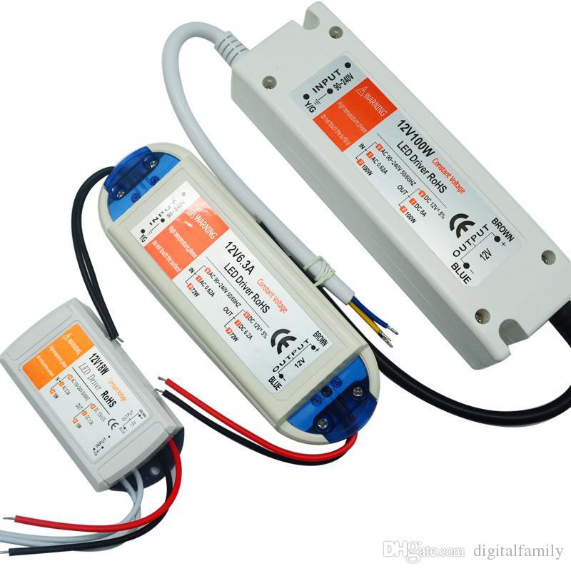 12V 6.3A 72W امدادات الطاقة 18W 28W 48W 100W 90V-240V الإضاءة المحولات Safy Driver لقطاع الأنوار LED لمبات