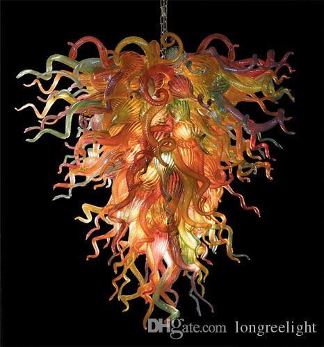 Lampes décoratives d'intérieur modernes 110V-240V lumières de la lumière de lustre de verre de Murano multicolore de style européen avec ampoules à LED