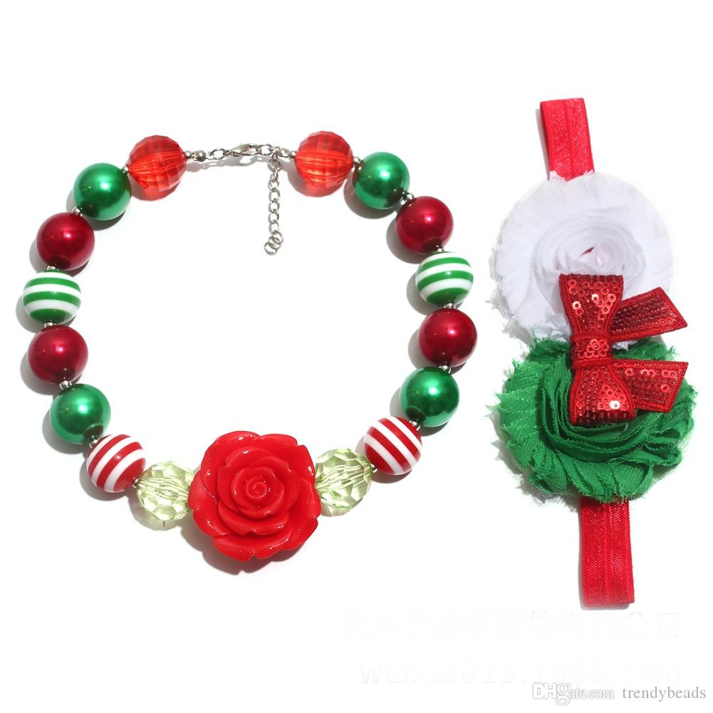 Christmas Children's Necklace Flower Headband Set,Chunky Bead Necklace Girls Headband Set for All Ages