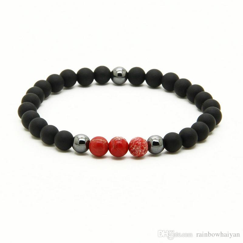 Großhandel Billig Armbänder 10 teile / los 6mm Matt Achat Stein Perlen Mit Rot, Blau, Türkis Und Lila Sediment Perlen Armbänder