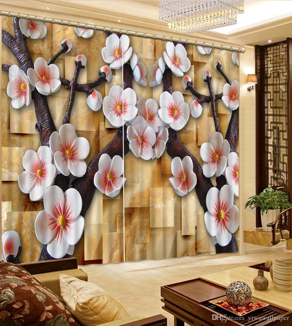 Foto jeder Größe Mode Dekor Hauptdekoration für Schlafzimmer Erleichterung Blume Pflaume 3d Vorhang