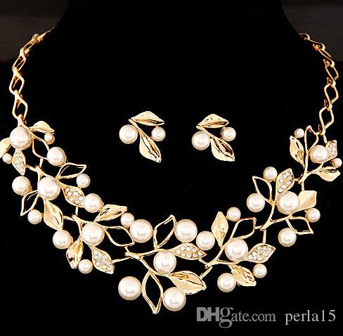 Gümüş altın rengi Kristal Gelin Takı Kadınlar Nişan inci Aksesuar Yaprak Şekli gerdanlık kolye Küpe Düğün Takı Setleri
