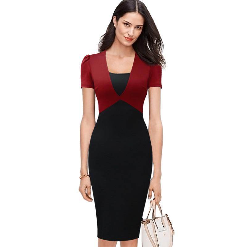 Lcw New Design Womens Elegant Contrast Colorblock Patchwork Slim High Waist Modest Work Office Business Casual Party Bodycon Dress