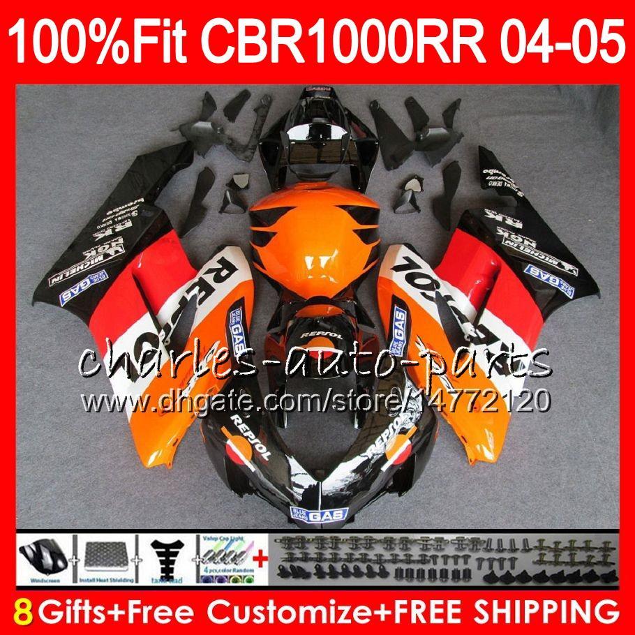 Corpo iniezione per HONDA CBR 1000RR CBR1000 RR 04 05 Carrozzeria 79HM1 CBR1000RR 04 05 CBR 1000 RR 2004 2005 Kit carena 100% Fit Repsol arancione