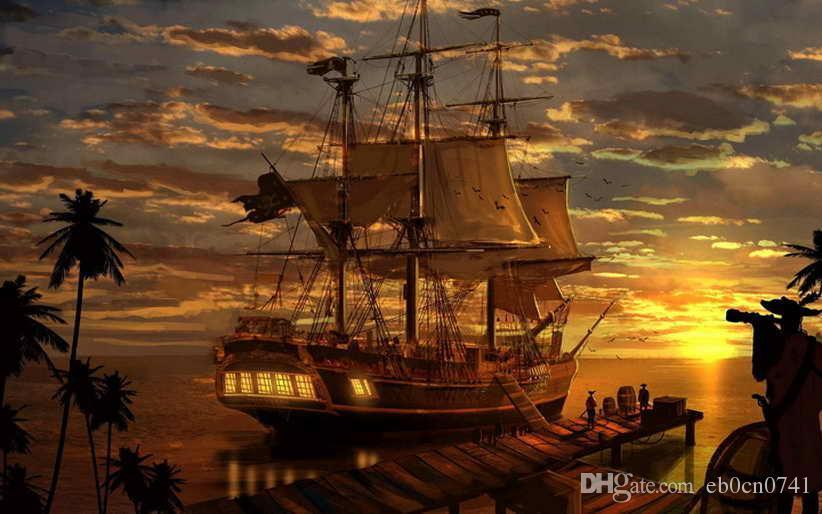 Classique Salon Art Décoration Murale Fantasy Pirate Pirates Ship Boa Peinture à L'huile Image HD Imprimé Sur Toile Pour La Décoration