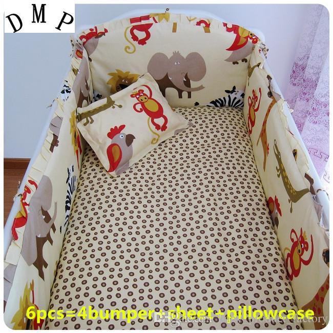 Promotion! 6PCS Cartoon Baby Bedding Set Cartoon Cot Bed Linen Crib Bedding Newborn Baby Gift ,include(4bumpers+sheet+pillowcase)