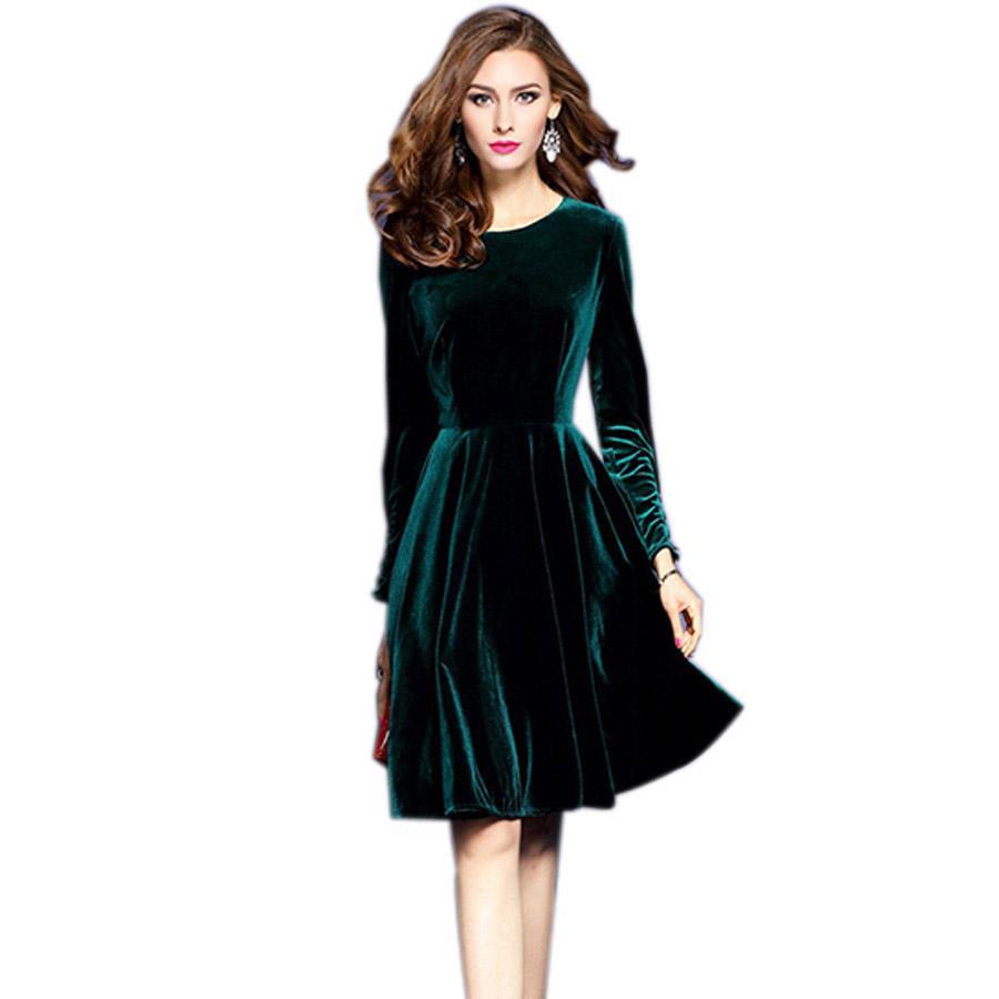 2019 2017 Spring Plus Size Velvet Dress For Women Evening Party Dresses  Vintage Elegant A Line Robe Femme Vestidos Vestido De Festa From Akaya,  $86.25 ...