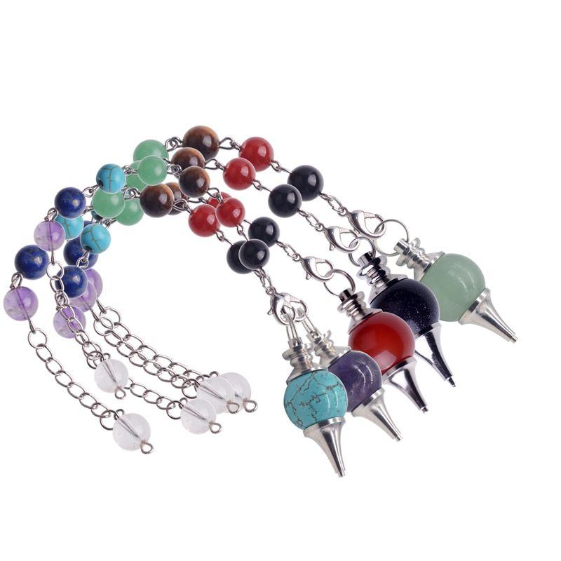 12pc/set 7 Chakra Stone Pendulum Healing Crystal Quartz Pendulum Necklace Spirituality Yoga Jewelery Woman Men gift