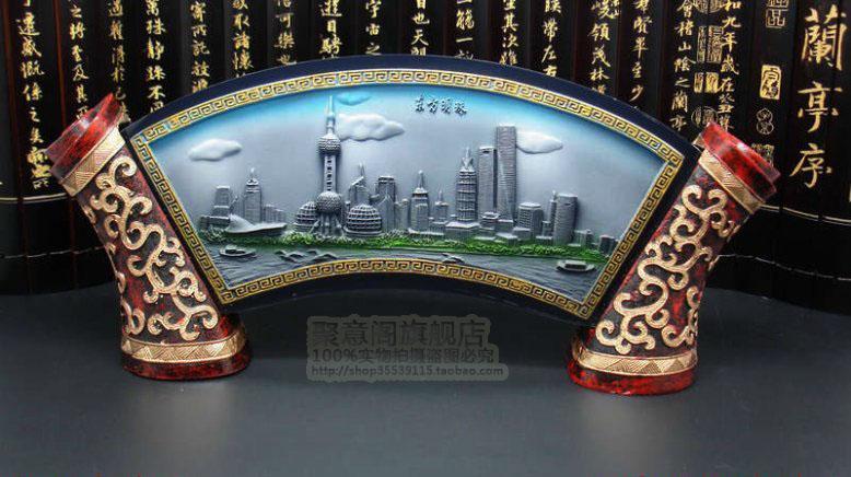 Caratteristiche di rilievo di cristallo di colore della conferenza di affari di Shanghai per inviare ai clienti di inviare gli ornamenti di souvenir turismo degli stranieri