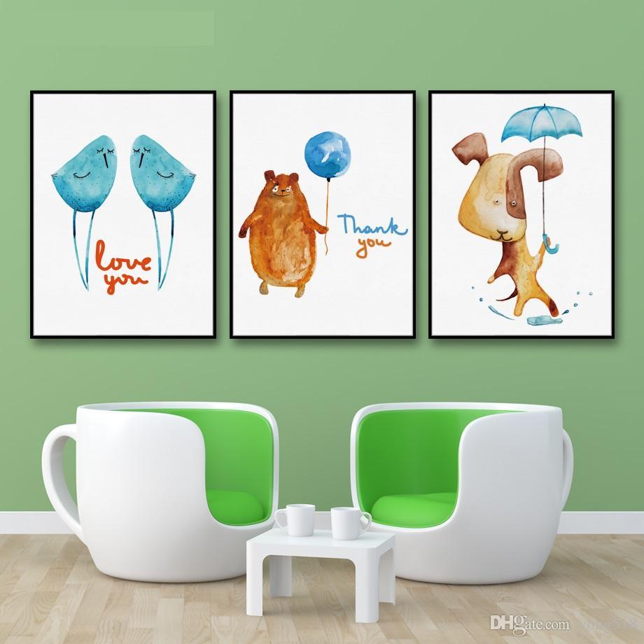 Украшение Живопись Nordic Животных Любовь Птица Стены Искусства Картины Стены Картины Холст Плакат Печати Детская Комната Home Decor