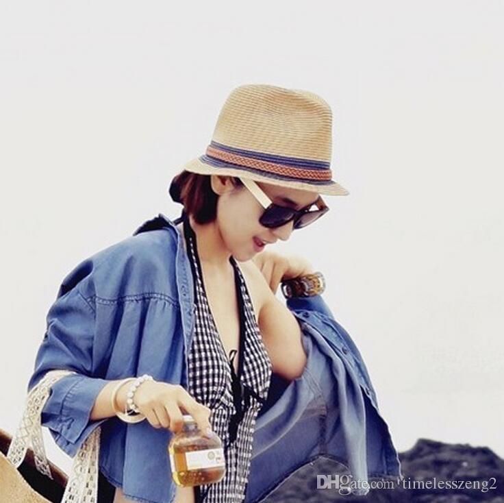 Повседневная полосатый пляж соломенные шляпы для женщин летние шляпы Jazz Hat Brim Sun Hat пляж козырек шапки