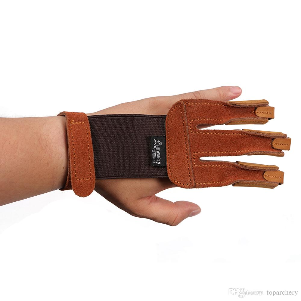 3 finger Leather archery Glove Fingerguard Finger Protect for Long Compound Bow