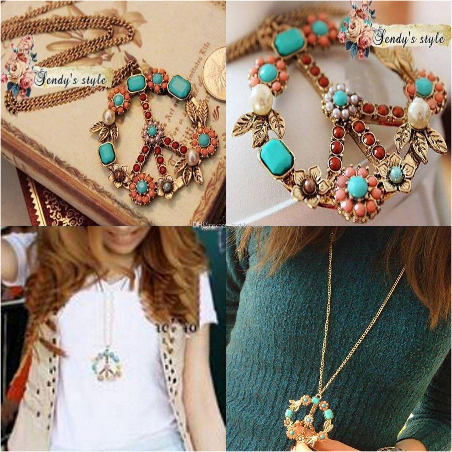 Lucky Style Vintage Peace Sign Pendant Long Necklace Crystal Choker Collar For Women Sweater Chain Necklace