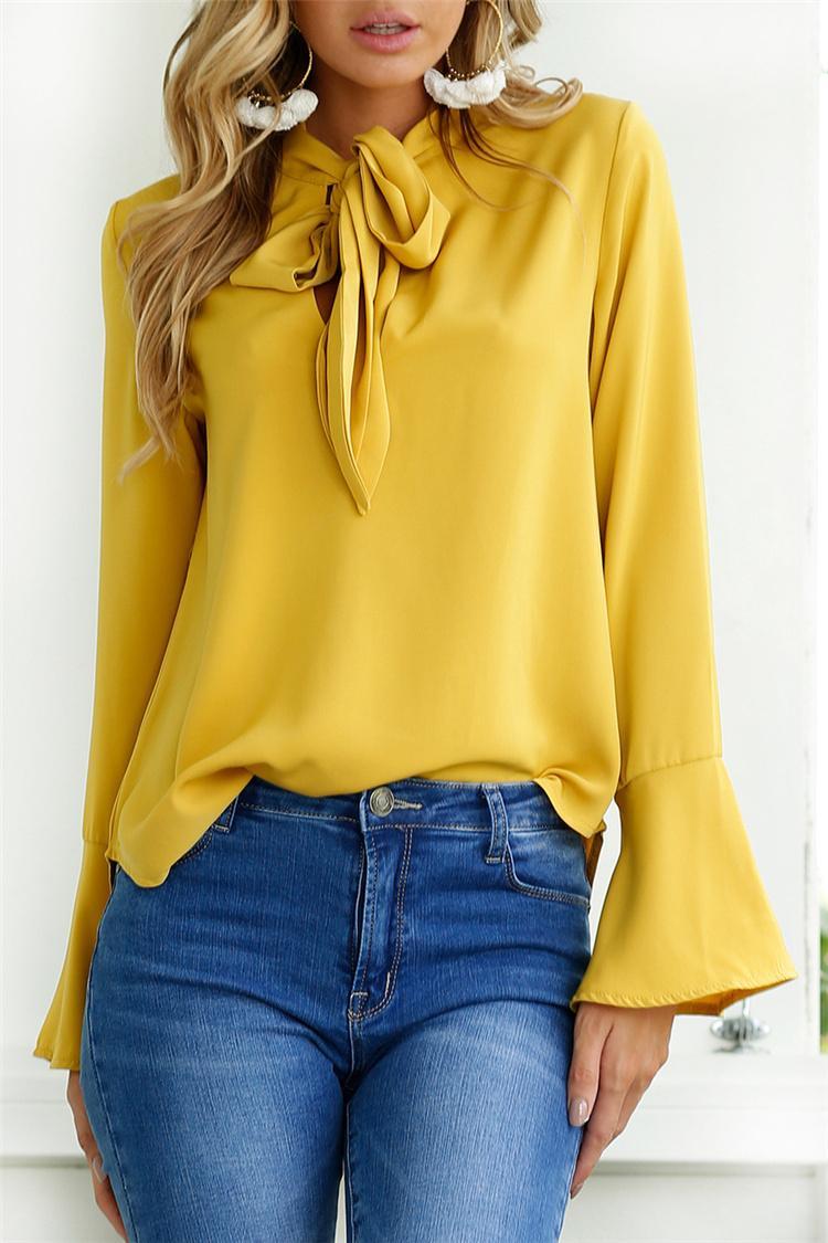 ac5b56ece2c ... Autumn Winter Bow Ties Women Tops Black Yellow Pink Navy Blue Long  Sleeve Women Blouse Shirt ...