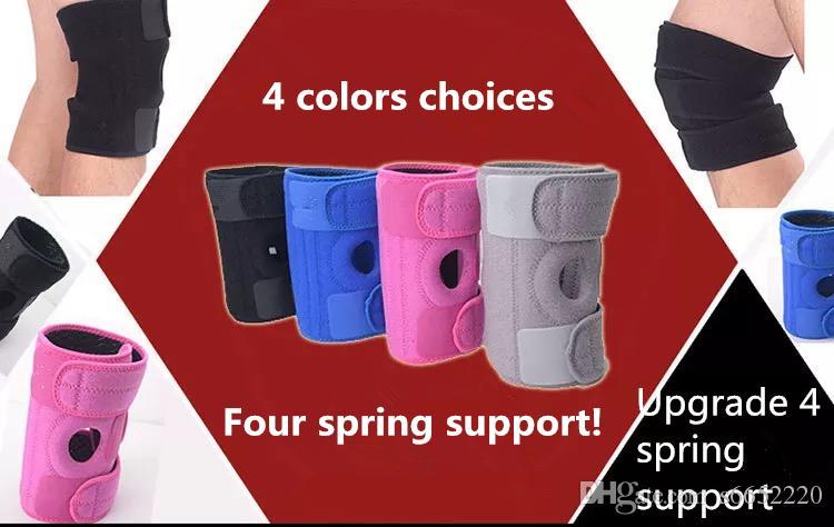 1pc sport genou 4 Advanced Spring support noir sangle de sécurité Garde Patella élastique genouillères Sport Sécurité genou réglable Brace