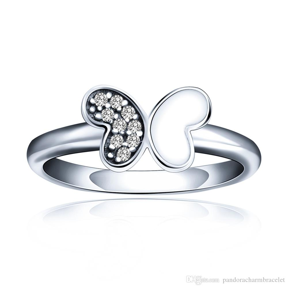 Hot Sale 925 Sterling Silver Half A Silver Butterfly Ring Diamond Ring