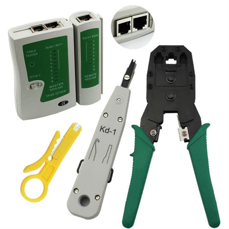 RJ11 RJ12 RJ45 CAT5 Cat6 LAN Ethernet main réseau Kit de testeur de câbles Crimp Crimper Plug Pinces Lan Tester