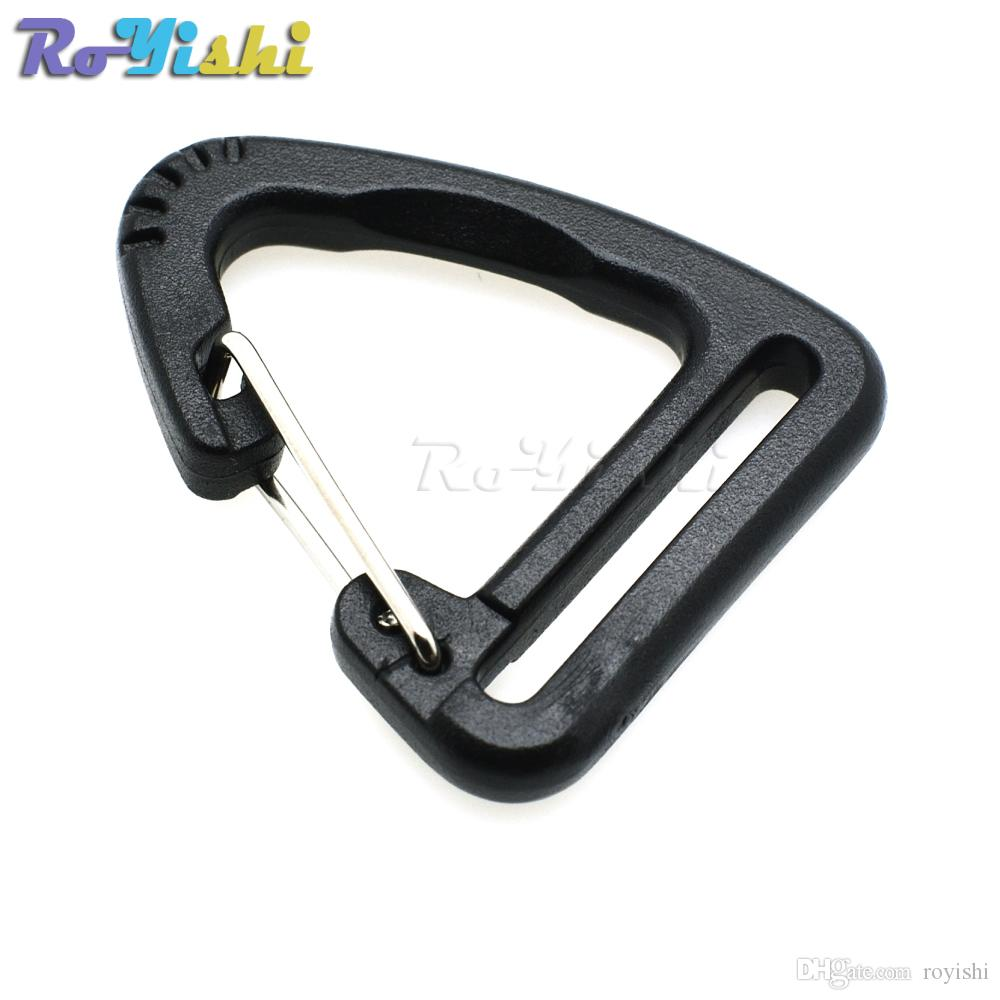 50pcs/lot 1''Plastic Buckles Hook Climbing Carabiner Hanging Keychain Link Backpack Strap Webbing 25mm
