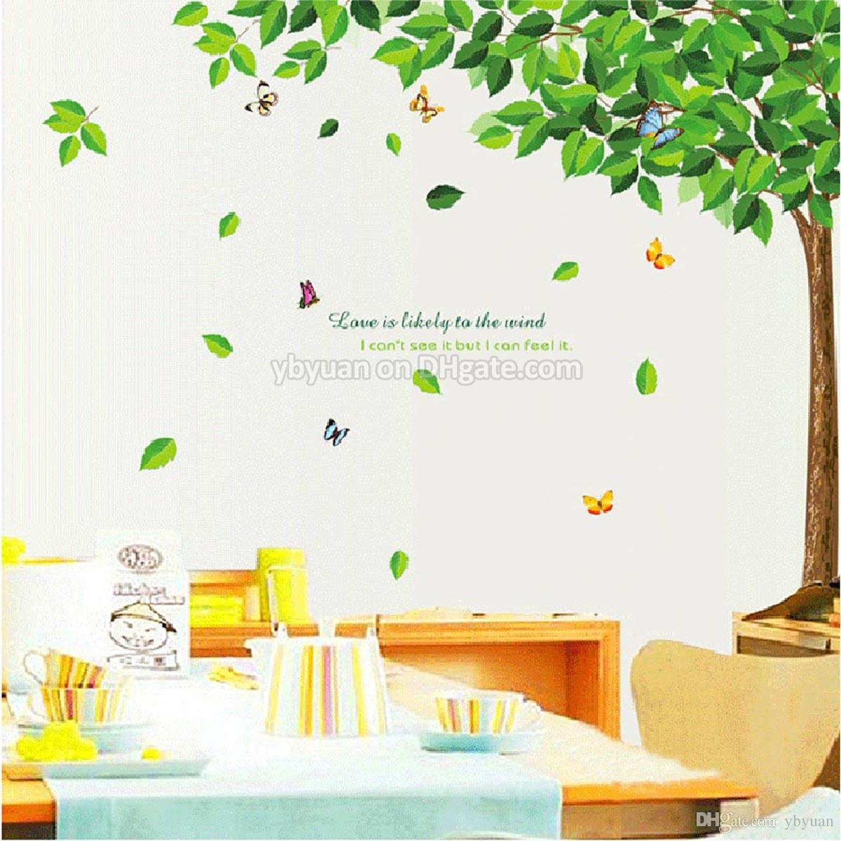 XL Big Green Tree Sticker Large Wall Stickers Decorative Living Room Sofa TV Background Removable Decals Bedroom Home Decoration