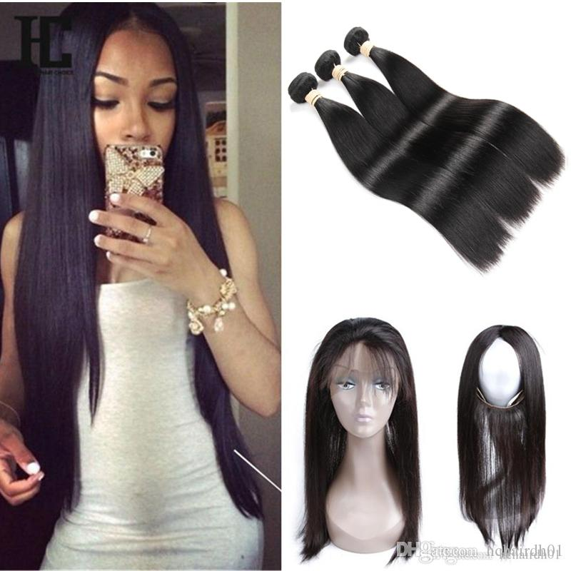 8A Hair Brazilian Virgin Hair Pre Plucked 360 Frontal with Bundles Straight Hair Weaves 360 Lace Frontal with Bundles HC 360 Lace Frontal