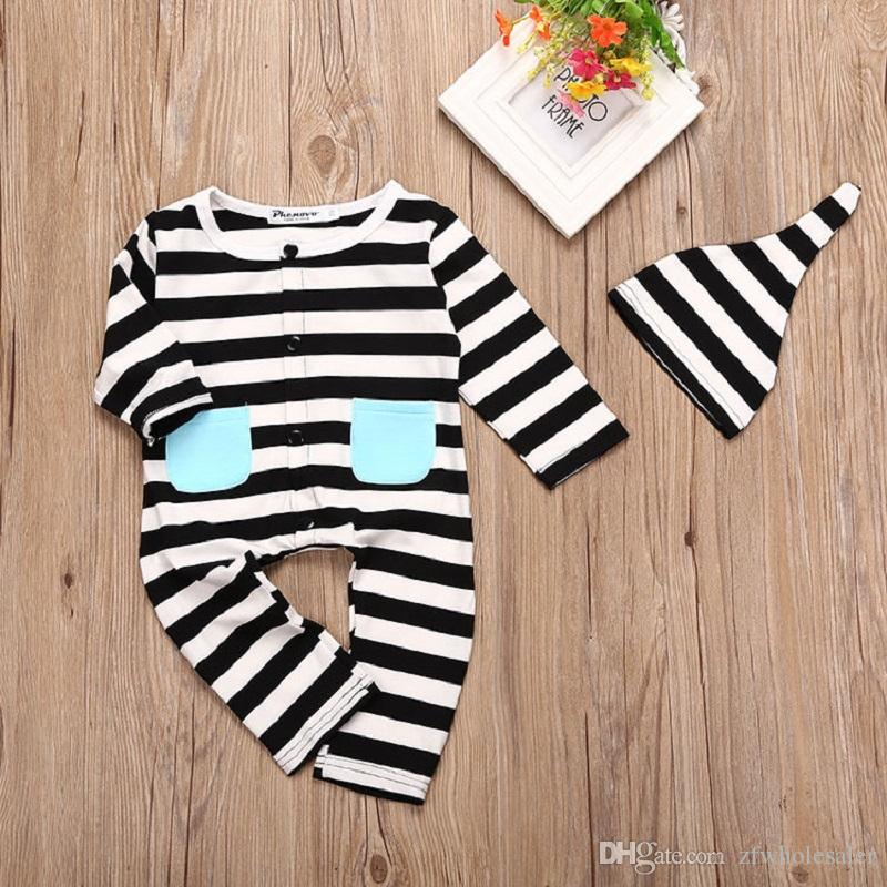 Baby Pajamas Christmas Toddler Outfit Baby Boy Girl Boutique Clothes Infant Striped Romper Suit Overall Sleepwear Jumpsuit Kids Clothing