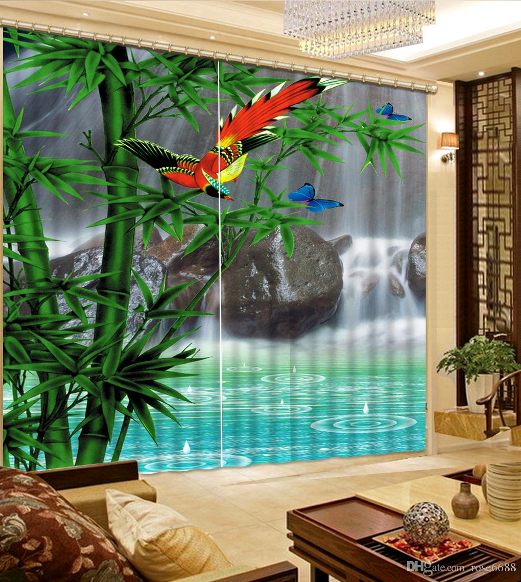 Fashion 3D Home Decor Beautiful window curtain living room waterfall  landscape bamboo Curtains for living room2017 Fashion 3d Home Decor Beautiful Window Curtain Living Room  . Living Room Waterfall. Home Design Ideas