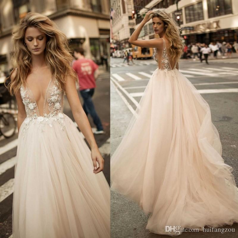 Berta Plunging Neckline Wedding Dresses Delicate 3D Appliques Beaded Floor length Bridal Gowns Backless vestidos de novia