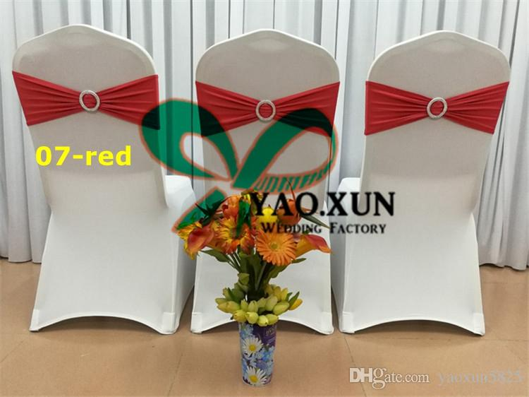 White Spandex Chair Cover With RED Spandex Chair Band \ Cheap Price