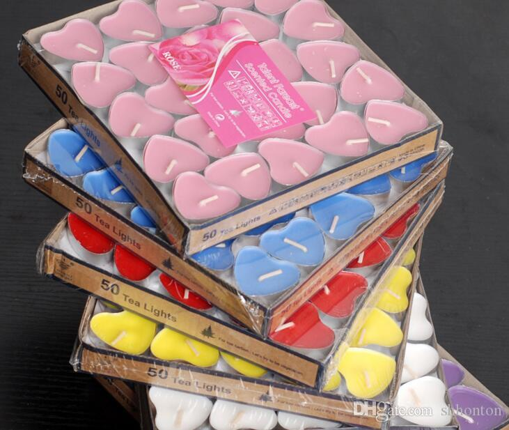 50pcs package Candle Favors Heart-shaped aromatherapy candles to propose romantic and creative wedding products tea wax WQ05
