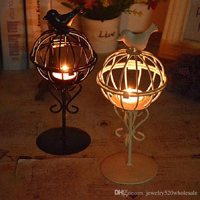 Laterne Eisen Kerzenhalter Kerzenhalter Birdcage Form Kerzenständer Hochzeit Abendessen Tisch Ornamente