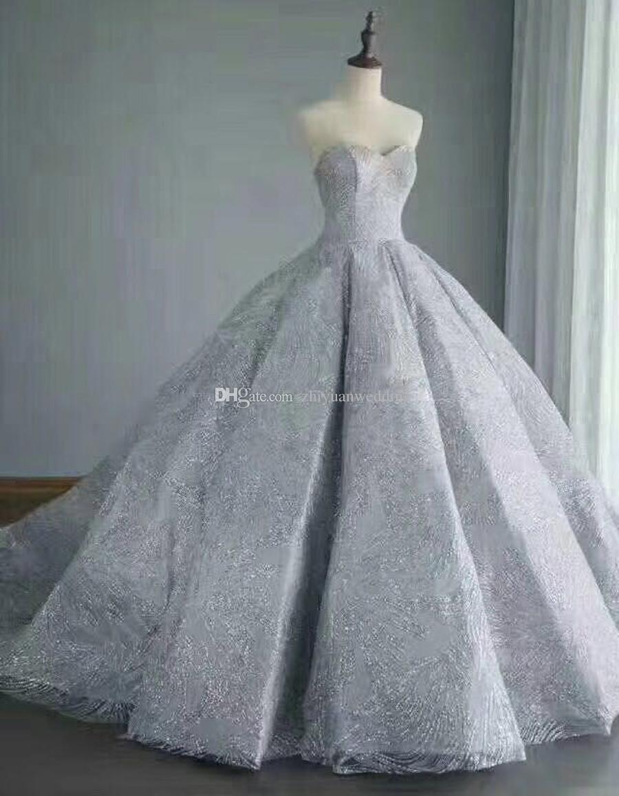 Real Photos Arabia Dubai Silver/Gold Sequin Lace Ball Gown Wedding ...