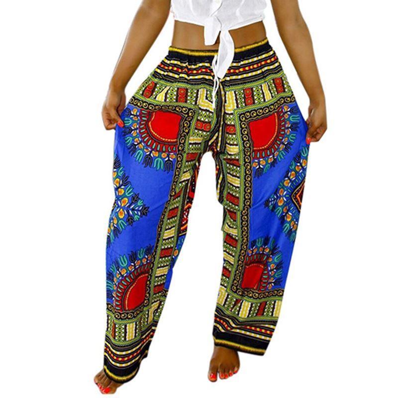 Kadınlar Afrika Pantolon Dashiki Bohemia Baskı Gevşek Pantolon Vintage Ankara Pantolon Ile Cep Yaz Rahat Artı Boyutu Geniş Bacak Pantolon 17301