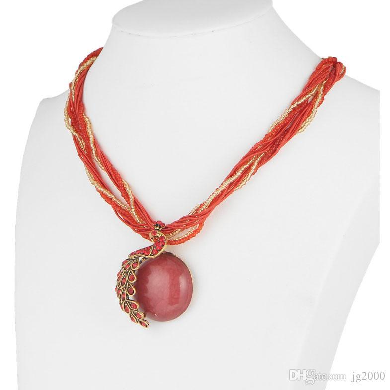 Collier de paon bijou 6 couleurs en option accessoires vestimentaires chaîne pendante de mode collier artisanat