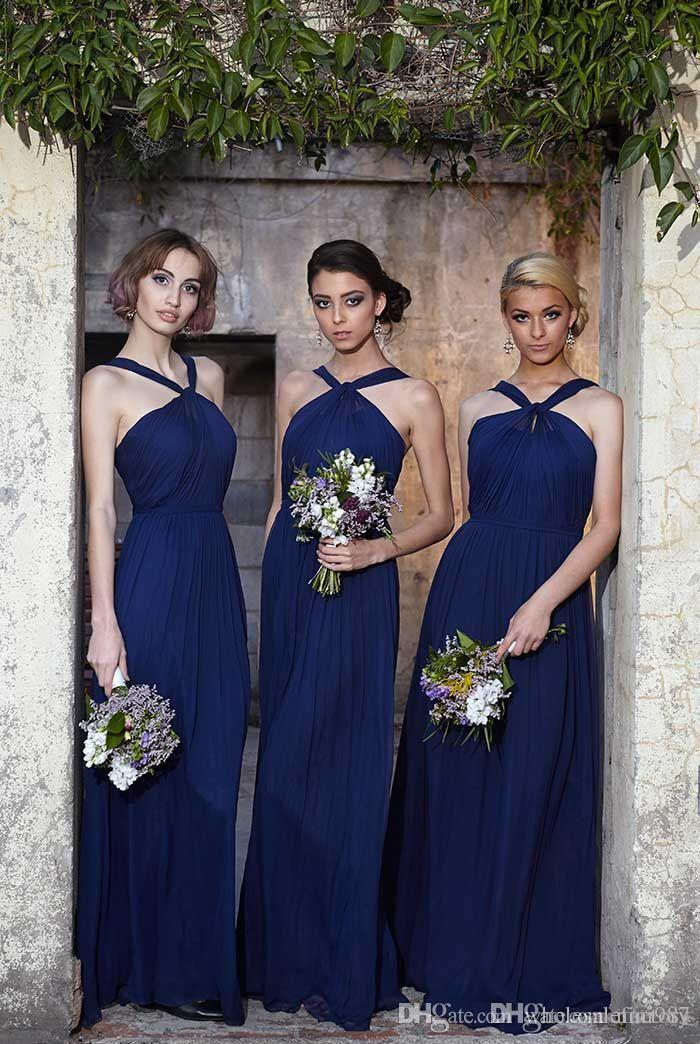 Navy Blue Bridesmaid Dresses 2017 Halter Garden Country Western Wedding Guest Dresses Long Chiffon Off the Shoulder Bridesmaid Gowns 2017