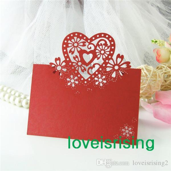 최저 가격 - 웨딩 파티 테이블 장식에 대 한 레드 컬러 레이저 컷 플레이스 카드 결혼식 이름 카드