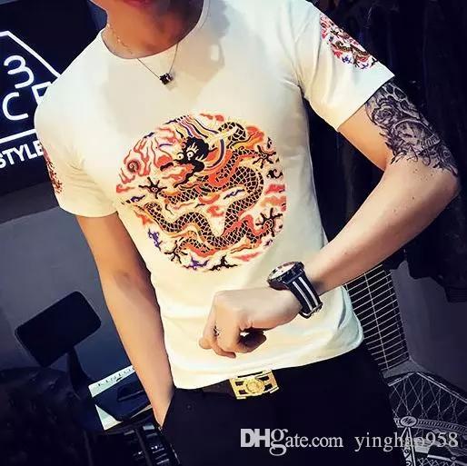 Лето китайский стиль с коротким рукавом футболки увеличивает длинный узор футболки, дракон